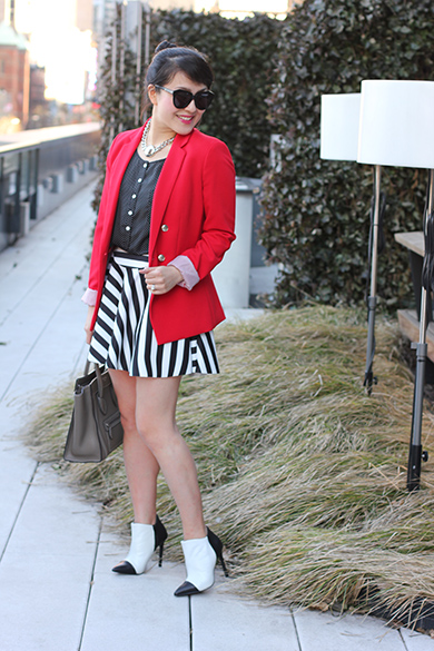 J.Crew mini polka dot silk top with MANGO red suit blazer jacket
