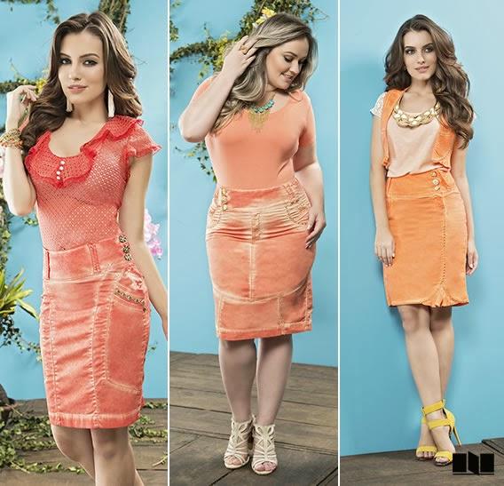 Looks laranjas da Nítido Moda Evangélica