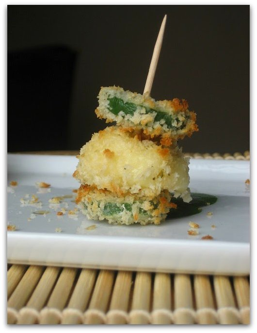 baked panko mozzarella balls with jalapeno stackers