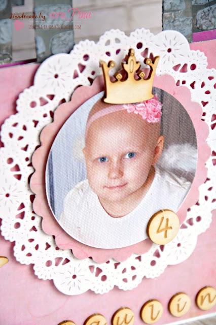 Wyjątkowy prezent na urodziny dla małej księżniczki różowa kartka zamek wieża ręcznie robiona scrapina handmade scrapbooking upominek urodzinowy dla dziewczynki tekturki i kropka papiery bee scrap