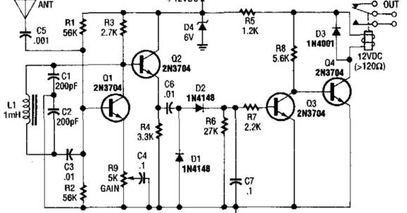 electronics projects  simple relay output proximity sensor circuit
