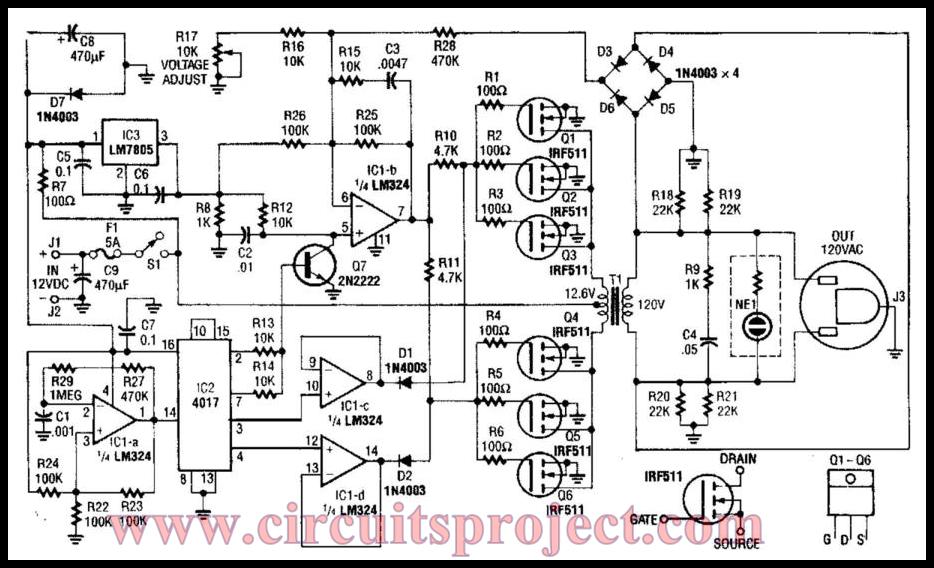 simple 40w 120vac inverter circuit diagram