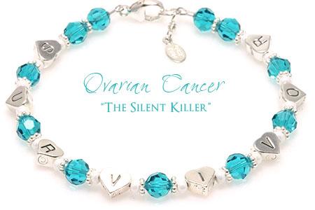 Ovarian Cancer Awareness Survivor Heart Bracelet (B173-OC)