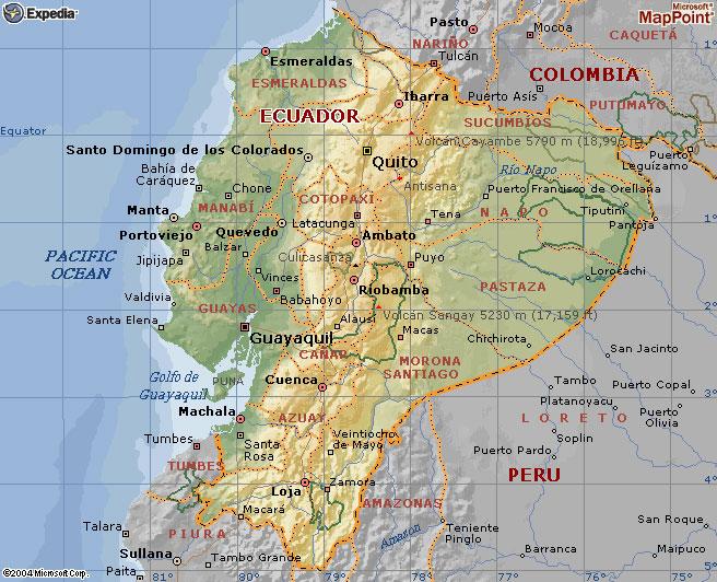 mapa geográfico del ecuador