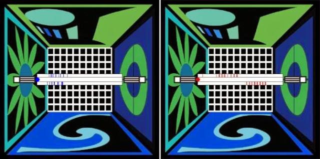 Actividad, representada por las rayitas azules del centro, de células de lugar en una sala del mundo real, a la izquierda, y en la misma sala pero recreada en realidad virtual, a la derecha. (Imagen: UCLA)