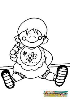 dibujo de bebe con biberon para colorear