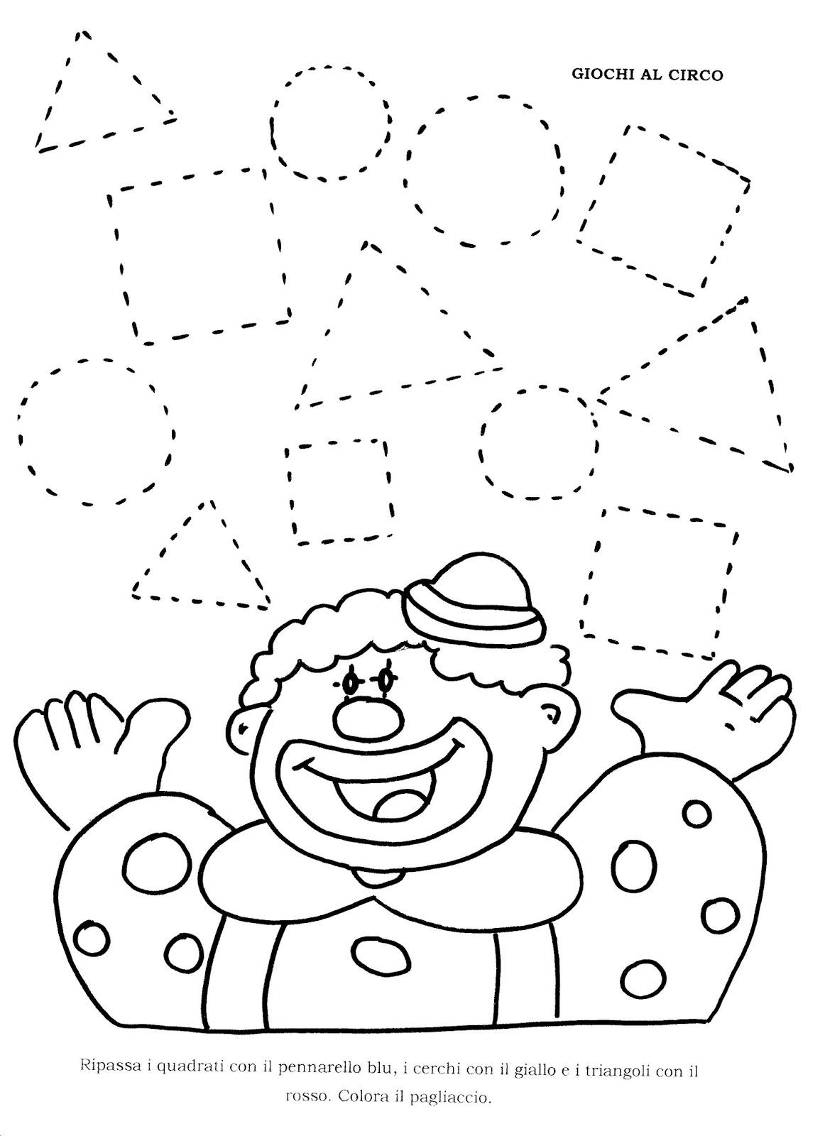 Schede forme geometriche scuola infanzia bu07 for Schede carnevale da colorare