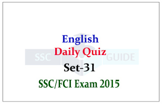 English : Daily Quiz for SSC/FCI Exams