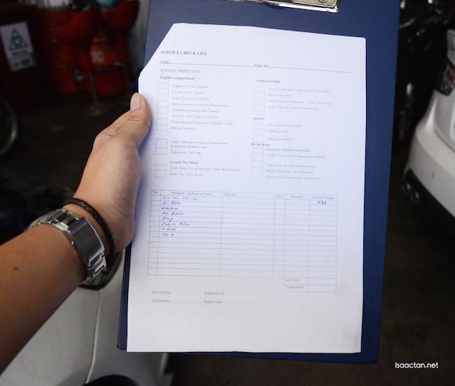 Service check list