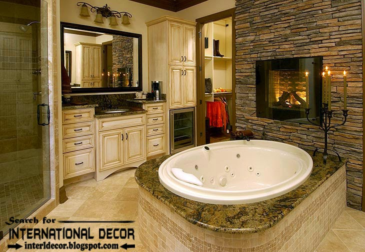 luxury bathroom designs with fireplace ideas, electric fireplace 2015