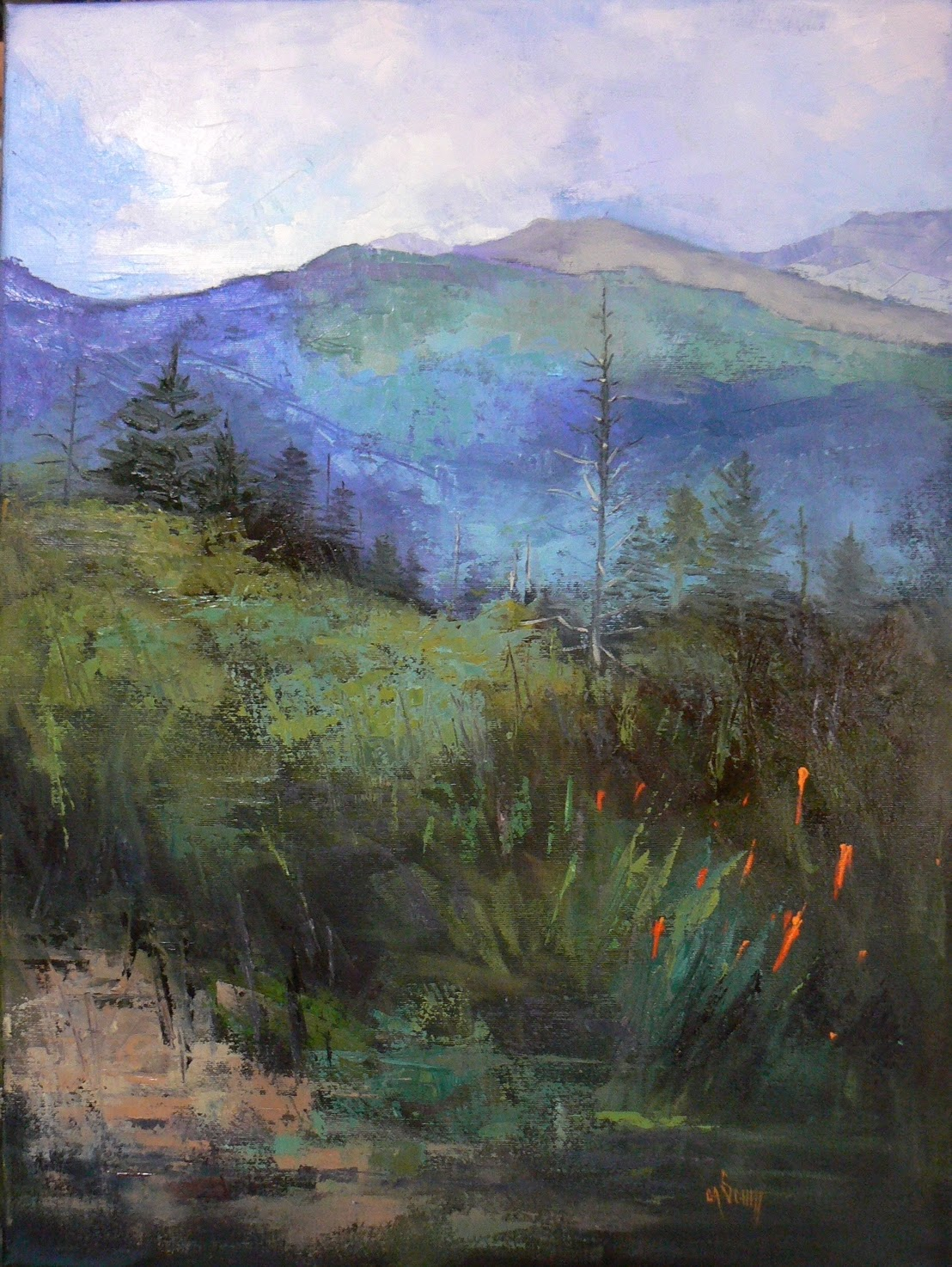 CAROL SCHIFF DAILY PAINTING STUDIO Mountain Landscape Oil