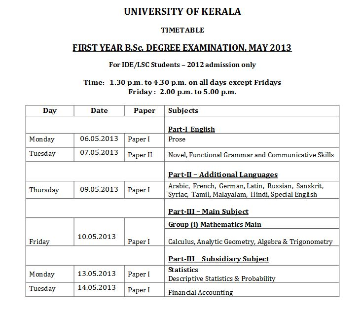 Kerala University Time Table 2013 Exam Schedules - keralauniversity.ac