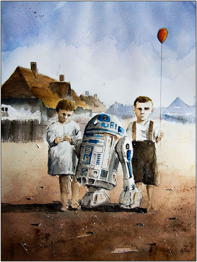 11-R2D2-Giszowiec-Grzegorz-Chudy-Paintings-of-Star-Wars-worlds-in-Watercolors-www-designstack-co