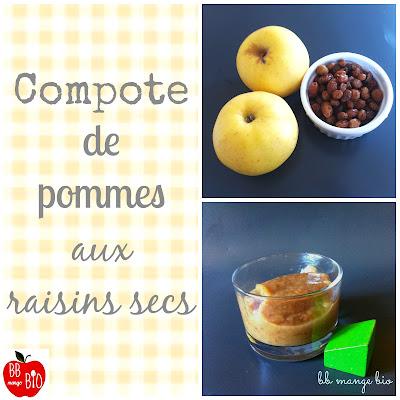 Compote d'hiver pour les bébés à partir de 6 mois compoe de pomes aux raisins secs  par BB mange bio