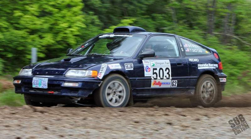 Honda CRX rally racer on day 3 of the 2014 Oregon Trail Rally