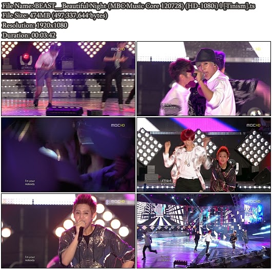Download Performance BEAST - Beautiful Night (MBC Music Core 120728) (Full HD 1080i)