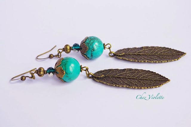 Boucles d'oreilles turquoise feuille - https://www.etsy.com/shop/chezviolette
