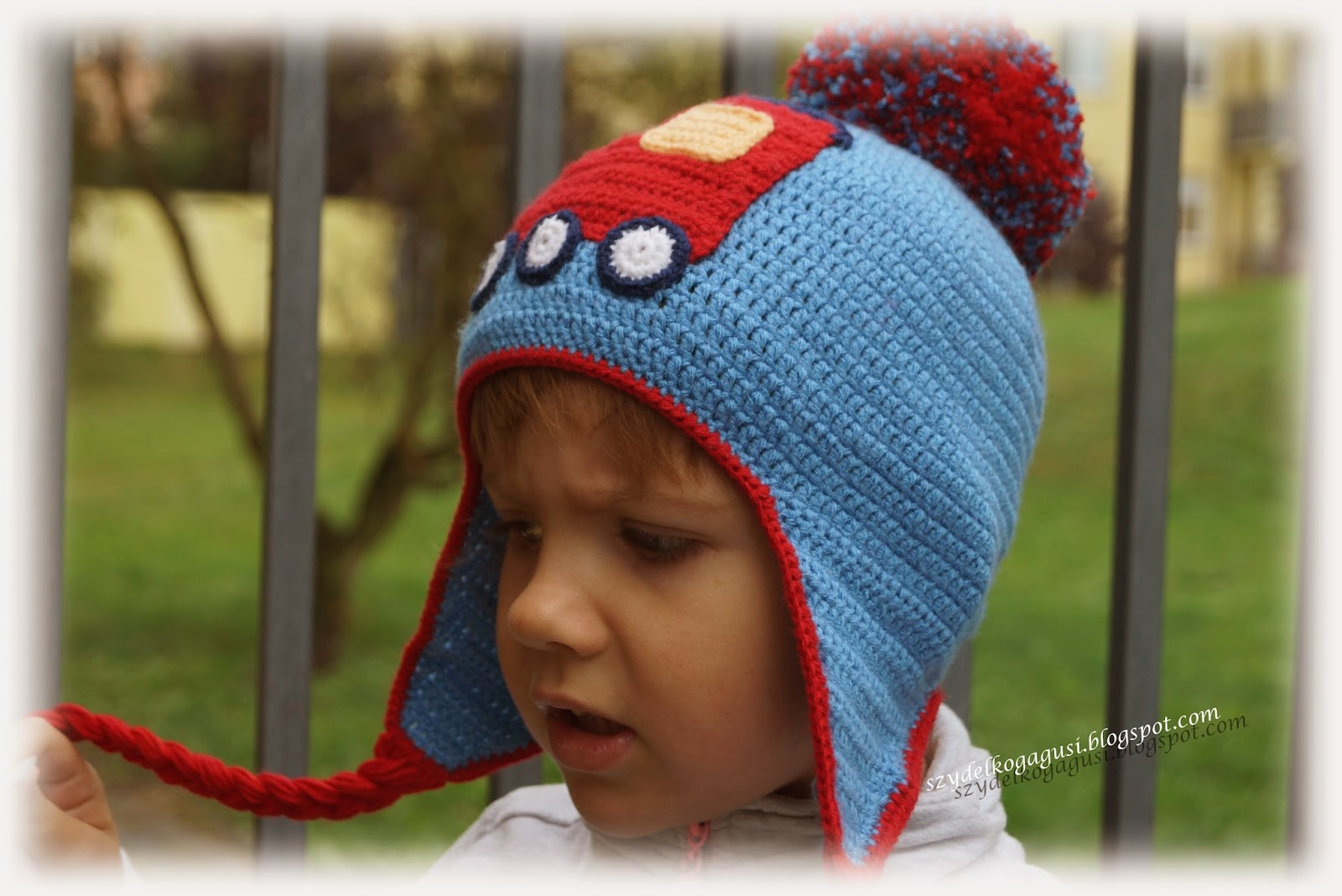 crochet hat with train