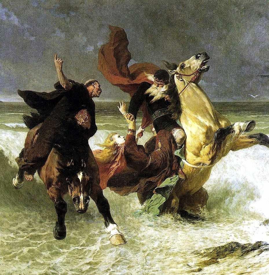 A fuga do rei Gradlon. Evariste Vital Luminais (1822–1896). Musée des Beaux-Arts, Quimper