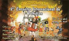 Banner do 2º encontro internacional de palhaços, evento organizado pelo circovolante