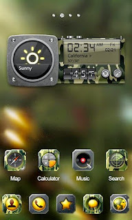 Screenshots of the Camo GO Launcher Theme for Android mobile, tablet, and Smartphone.