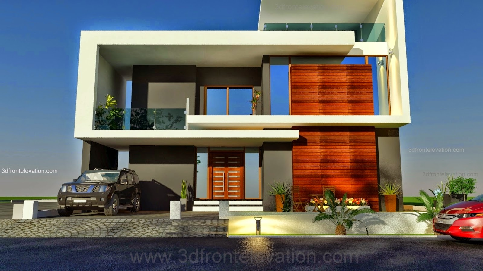 3d front beautiful pakistani 1 kanal modern for Pakistani simple house designs
