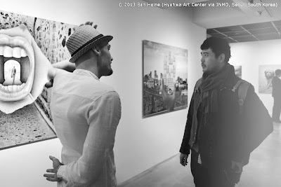 Benjamin Heine with Teddy Sae Park at Pencil Vs Camera Art Exhibition