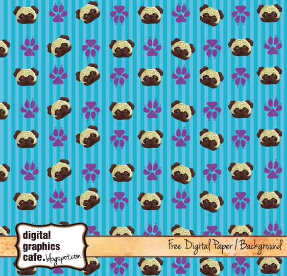 pug scrapbook paper