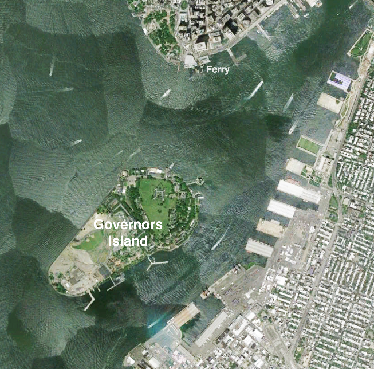 google earth showing governors island s urban context