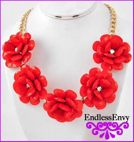 Necklace Red Flower Red Flower Beaded Statement