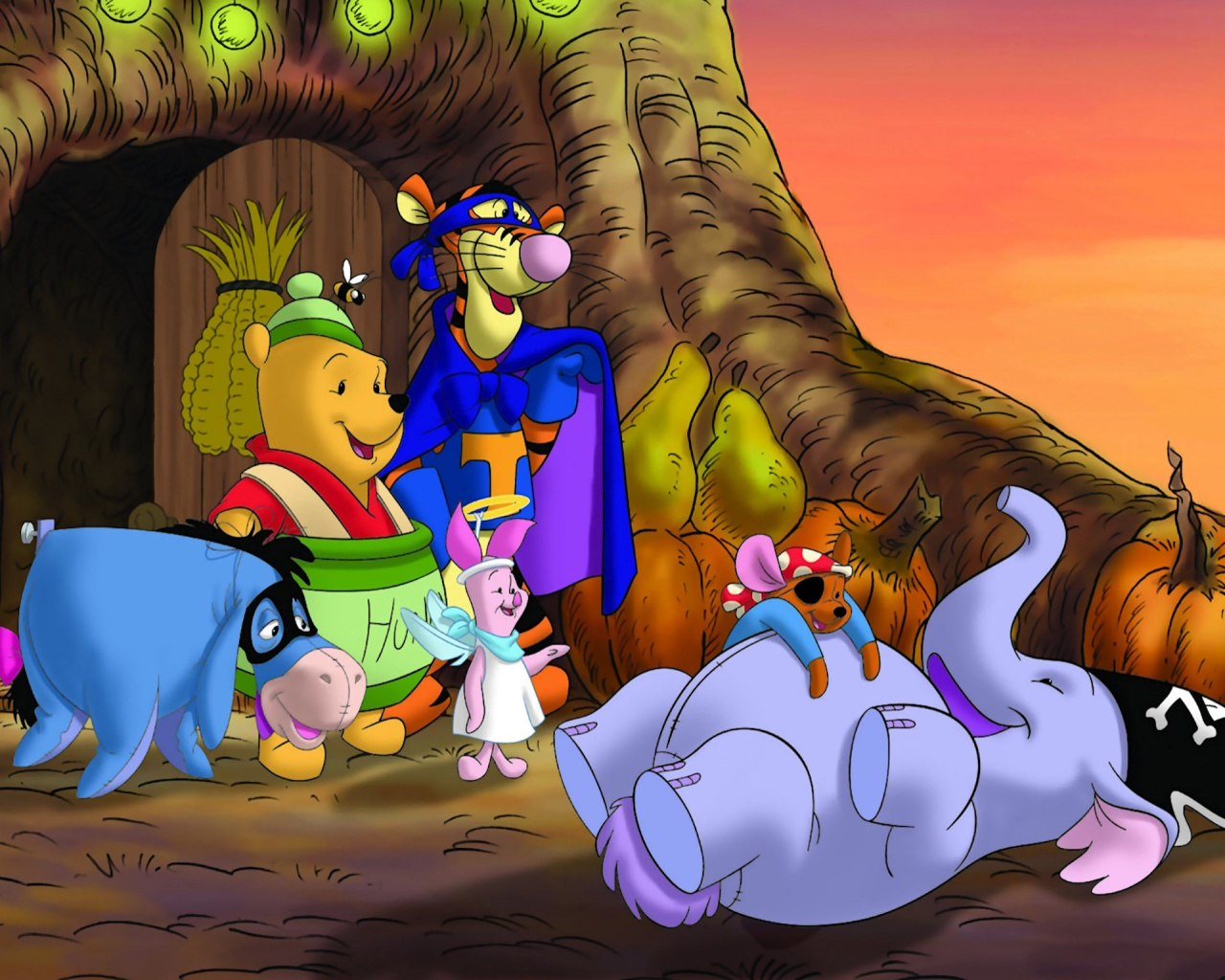 Happy halloween 2012 wallpaper for disney 39 s fan wallpaper for holiday - Winnie the pooh and friends wallpaper ...