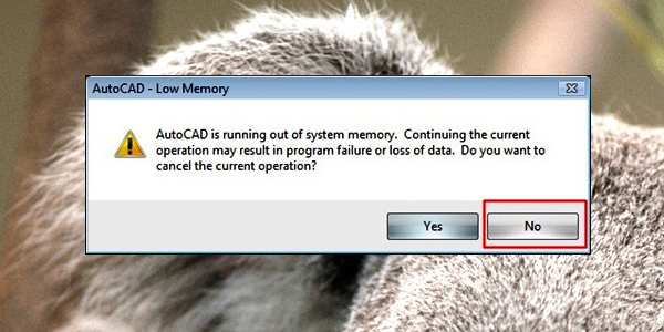 AutoCAD Low Memory