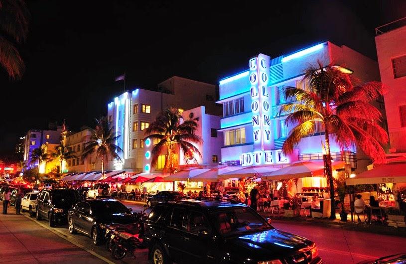 Ponto turístico Miami Ocean Drive