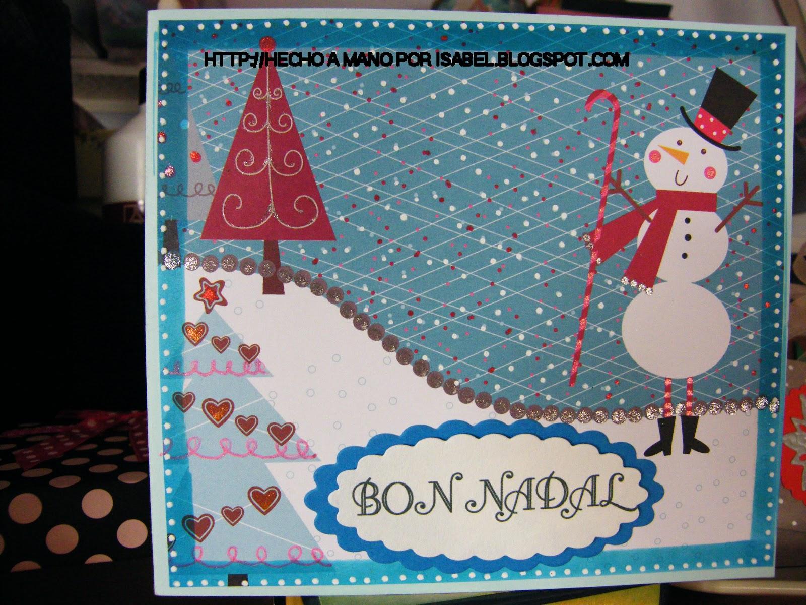 Hecho a mano por isabel tarjeta de navidad con mu eco de - Como hacer una felicitacion de navidad original ...