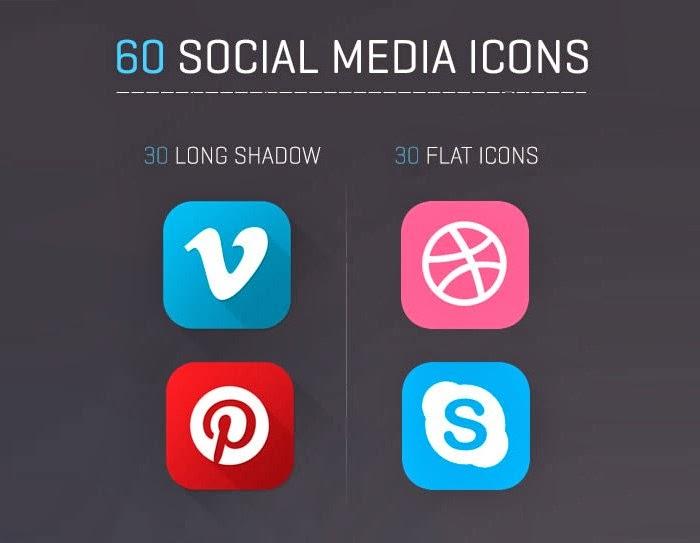 أيقونات مواقع التواصل الإجتماعي PSD – Social icons 2014