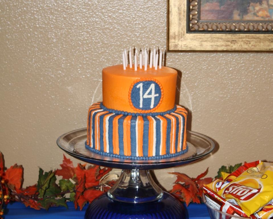 Party Cakes Orange And Blue Striped Birthday Cake
