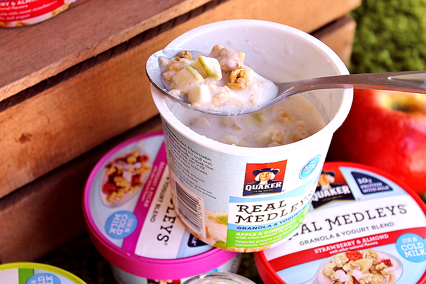 Discover crunchy, cool, yum NEW #QuakerRealMedleys in the Cold Ready-To-Eat Cereal aisle of your local Walmart. Just add 1/2 cup cold milk for a whoel grain granola, real fruit and nut, yogurt experience unlike anything you've tried before! Quaker® Real Medleys® Yogurt Cups pair perfectly with our simple Baked Apple Roses- recipe on the blog! (ad)