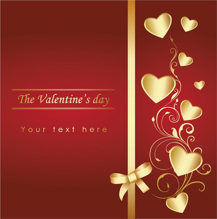 金色リボンとハート飾りのバレンタインデー背景 love pattern background vector イラスト素材