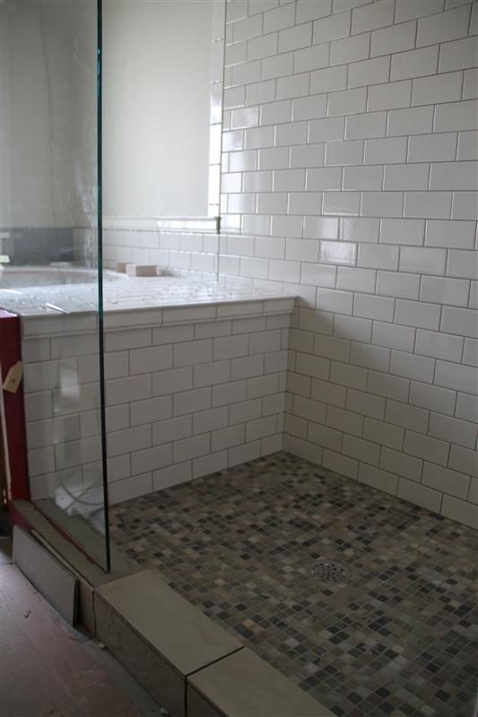 Our big house on the prairie tile work progresses for Master bathroom floor tile