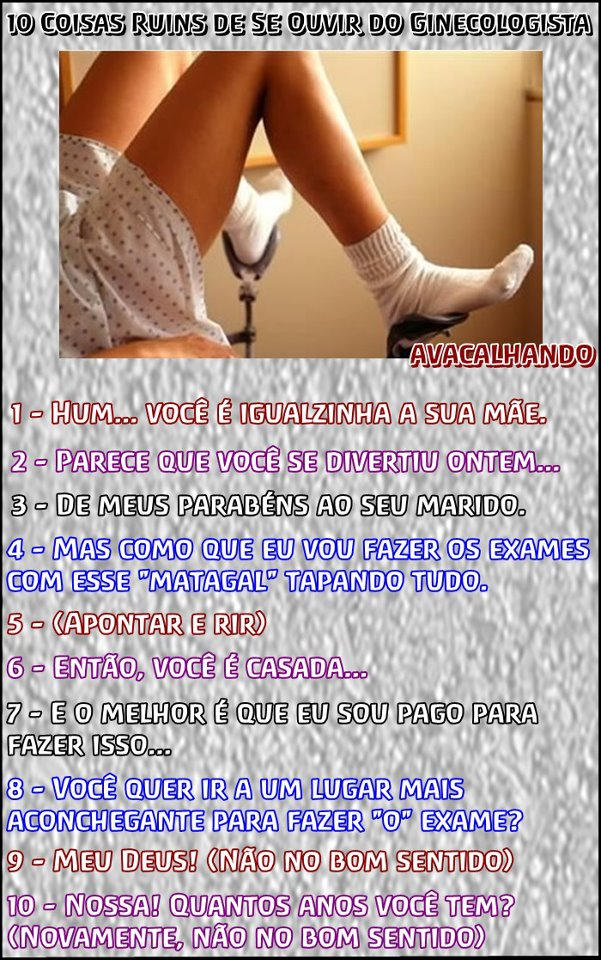Coisas ruins de ouvir de um ginecologista