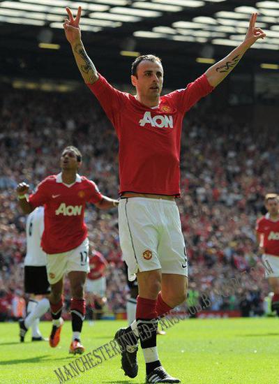 Dimitar Berbatov celebrates scoring Manchester United vs Fulham, berbatov man utd