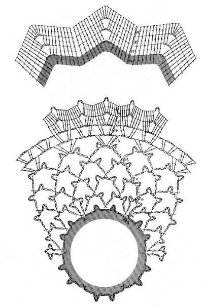 Схема вязания салфетка с валанами крючком