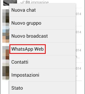 Opzione WhatsApp Web menu contestuale app