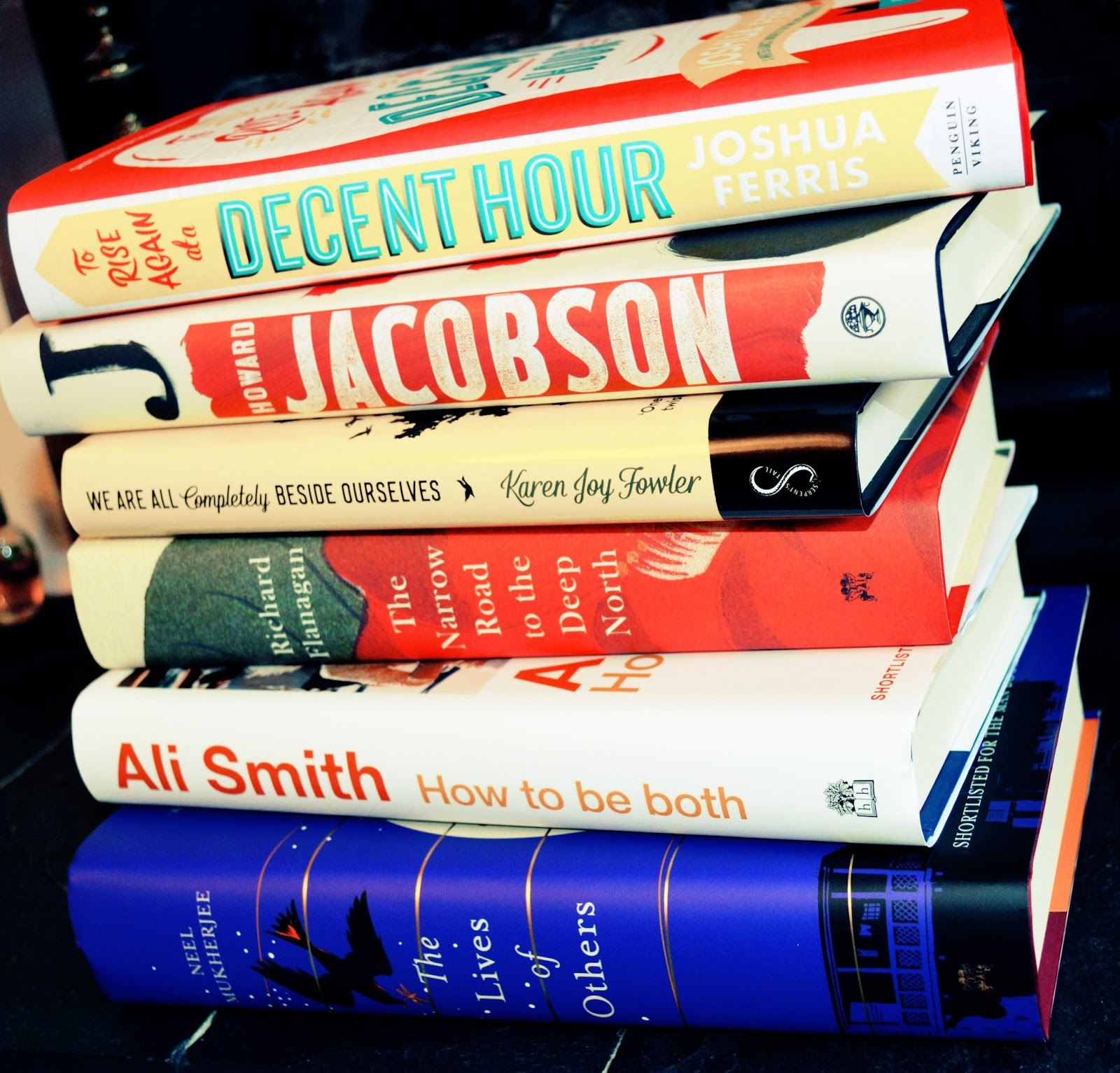 Man Booker shortlist, review, photo, book stack, pile of books