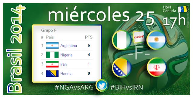 Nigeria - Argentina (17.00h) Bosnia Hez. - Irán (17.00h) #Mundial2014 #Canarias