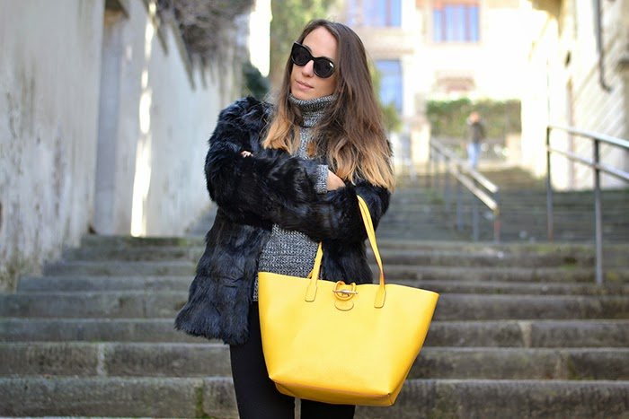 borsa shopper saffiano giallo