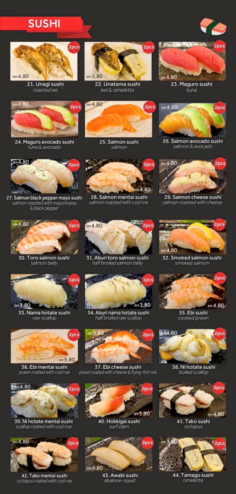 ha shi sushi miri menu and sushi price miri food sharing