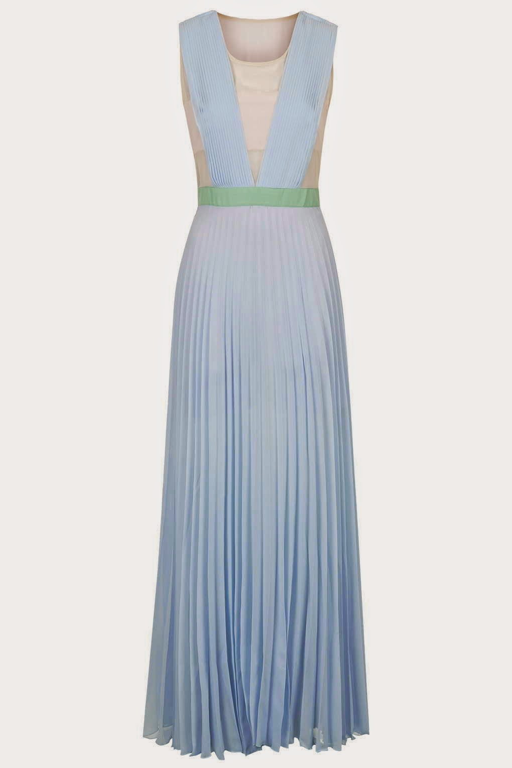 pale blue maxi pleated dress