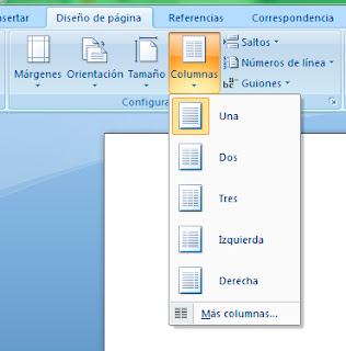 Crear columnas en Word 2007
