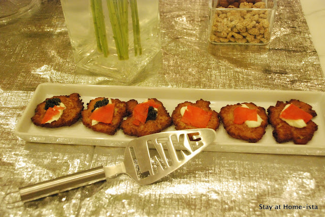 latkes with creme fraiche, smoked salmon and caviar